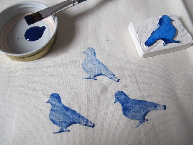 diy tampon impression textile motif oiseau