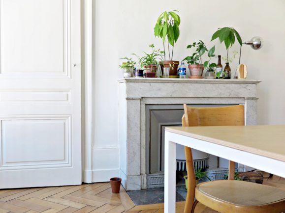 salon blanc cheminée marbre