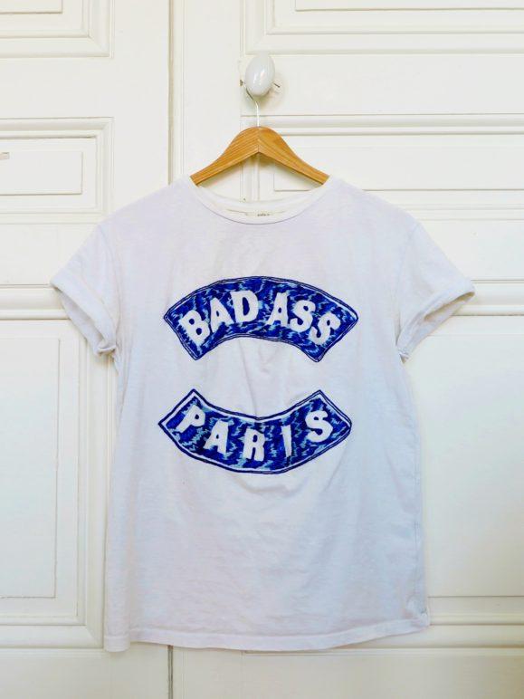 t-shirt floqué bleu